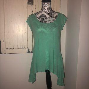 Splendid lose aqua-colored uneven summer t-shirt